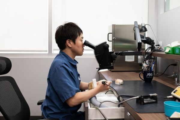 Visual inspection under a microscope